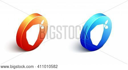 Isometric Vandal Icon Isolated On White Background. Orange And Blue Circle Button. Vector