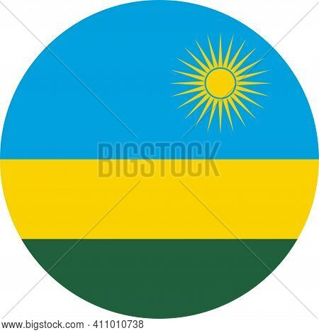 Rwanda Round Flag Icon. Business Concepts And Travel Signs And Symbols.