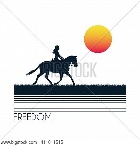Girl On Horse. Female Rider Silhouette. White Retro Background