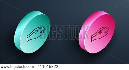 Isometric Line Snake Icon Isolated On Black Background. Turquoise And Pink Circle Button. Vector