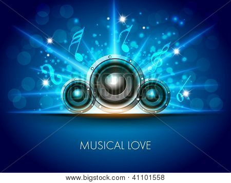 Abstract musical flyer with speakers on blue background. EPS 10.