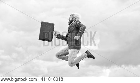 Happy Worker. Freedom. Feeling Free. Business Man Formal Suit Carries Briefcase. Illegal Deal Busine