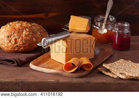 Norwegian brunost traditional brown cheese