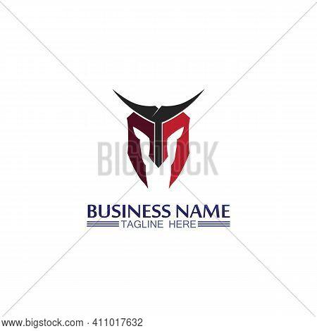 Spartan Helmet Logo And Gladiator, Power, Vintage, Sword, Safety, Legendary Logo And Vector Of Soldi