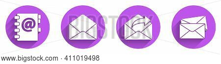 Set Address Book, Envelope, Outgoing Mail And Envelope Icon With Long Shadow. Vector