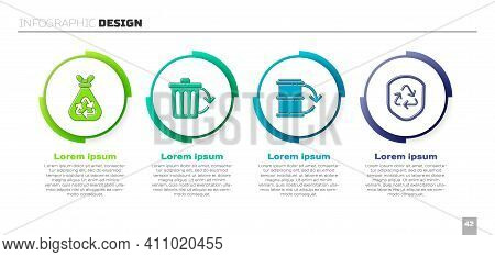Set Garbage Bag With Recycle, Recycle Bin With Recycle, Eco Fuel Barrel And Recycle Symbol Inside Sh