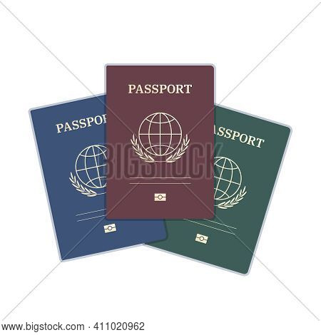 Passport Templates With Reddish, Blue, Green Covers, And Golden Elements. The Document Has A Simple
