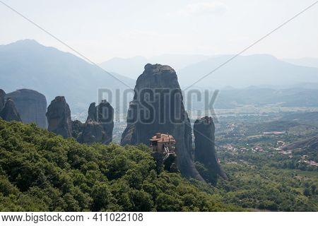 Beautiful Landscape With Meteora Mountains And Orthodox Monastery. Kalambaka, Greece