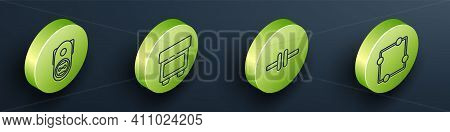 Set Isometric Electrical Outlet, Fuse, Electric Circuit Scheme And Electric Circuit Scheme Icon. Vec