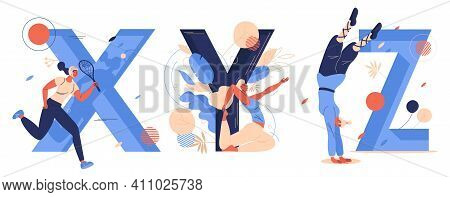 Sport Letters X For Xare Game, Y For Yoga, Z For Zui Quan. Women Training, Running And Doing Salto.