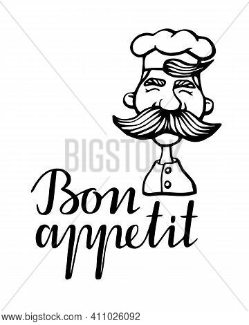 Hand Drawn Vector Illustration Of Chief-cooker With A Mustache In A White Dress. Chief-cooker Head L