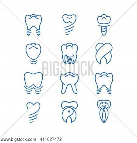 Dentistry Icon Vector Set. Tooth Implants Logo Vector Collection.