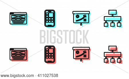 Set Line Planning Strategy Concept, Ui Or Ux Design, Mobile Apps And Site Map Icon. Vector