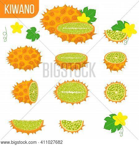 Set Of Fresh Whole, Half, Cut Slice Kiwano Fruits Isolated On White Background. Summer Fruits For He