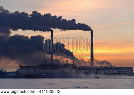 Industrial Factory Pollution Atmosphere, Smokestack Exhaust Gases. Industry Zone, Thick Smoke. Clima