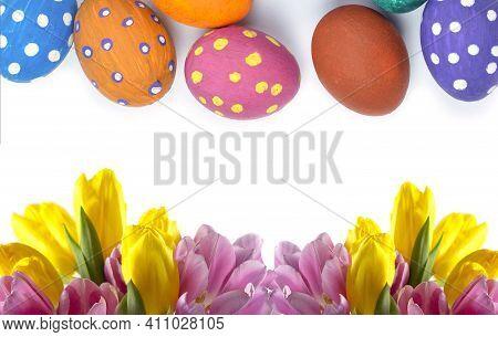 Easter Background. Easter Flowers. Easter Eggs. Happy Easter Card. Multicolored Easter Eggs. Easter.