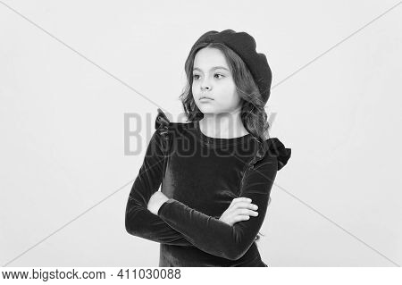Feel Sad About Something. Serious Girl In Vintage Beret Hat. Trendy Parisian Child In Red Dress. Tee