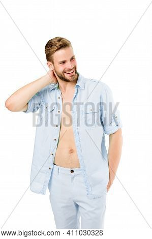 Fresh Shirt Concept. Style Inspiration And Advice. Casual Style Outfit. Confident With His Style. Wh