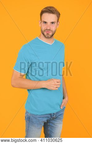 Modern Male Hairstyle. Hairstyle For Hipster. Handsome Man Yellow Background. Well Groomed Guy With