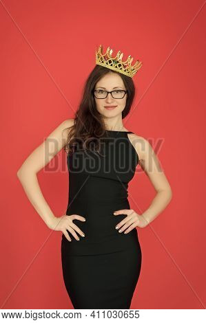 Ambitious Woman. Woman Boss Red Background. Sexy Woman Wear Luxury Crown. Pretty Woman In Formalwear