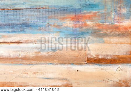 Stylish Background With Old Cracked Wooden Plank Wall In Beige And Blue Shade With Cracks, Knots And