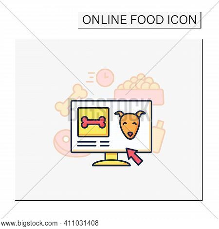 Pets Food Delivery Color Icon. Veterinary Shop. Online Shopping. Vet Products. Fast Delivery. Intern