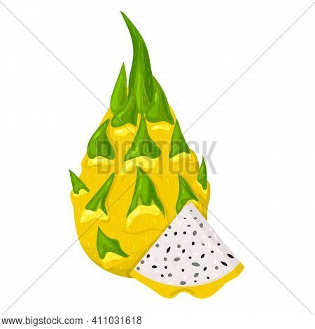 Fresh Whole And Cut Slice Yellow Pitaya Fruits Isolated On White Background. Summer Fruits For Healt