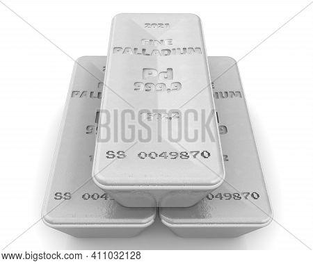 The Highest Standard Palladium Bars. Three Ingots Of 999.9 Fine Palladium Lie On White Surface. 3d I