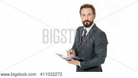 Businessman Planning Schedule Hold Notepad. Time Management And Organizing Skill. Man Bearded Manage