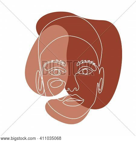 Abstract Line Wall Art With Women Face. Trendy Continuous One Line Drawing. Minimalist Wall Art With