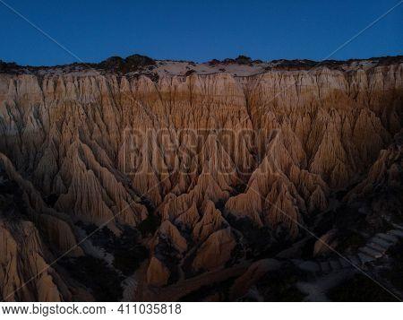 Aerial Panorama View Of Arriba Fossil Da Praia Da Gale Fontainhas Beach Hoodoo Fairy Chimney Earth P