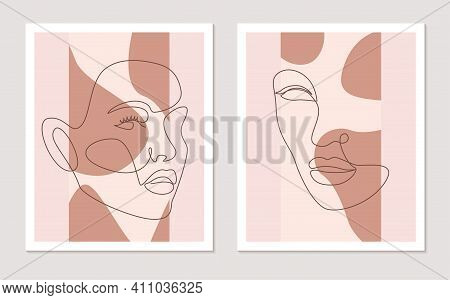 Abstract Line Wall Art Vector Set With Women Faces. Continuous One Line Drawing. Minimalist Wall Art