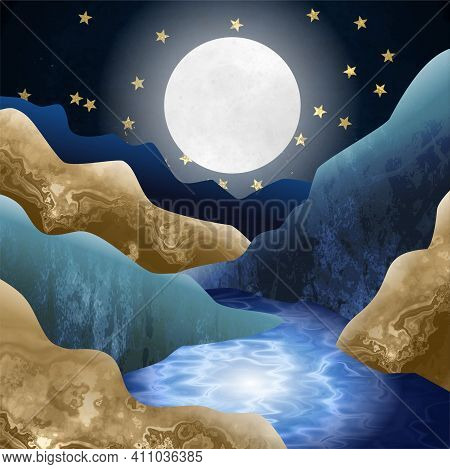 An Artistic Illustration Of A Rocky Valley Scene At Night With Moonlight And Stream.