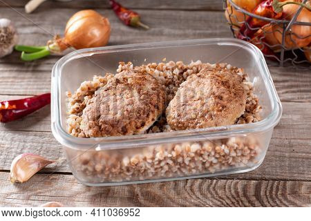 Ready Meals. Cutlets And Buckwheat In A Container Ready For Freezing