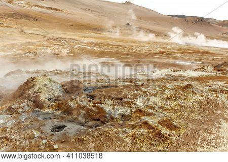 Life-hostile Volcanic And Geothermal Landscape Of Namaskard, Iceland