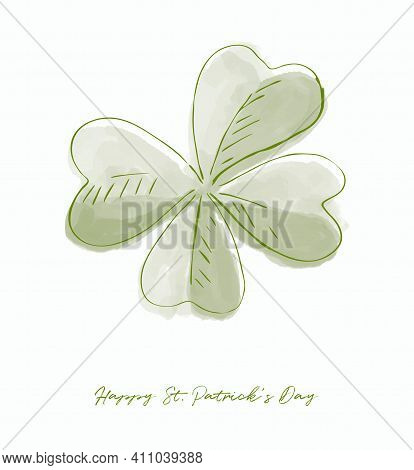 Happy St. Patrick's Day Vector Illustration Ideal For Wall Art, Poster, Card. Lovely Hand Drawn Gree