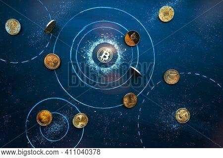 Altcoins Revolve Around Bitcoin In Cosmos. Universe Of Cryptocurrencies. Bitcoin Domination Symbol,