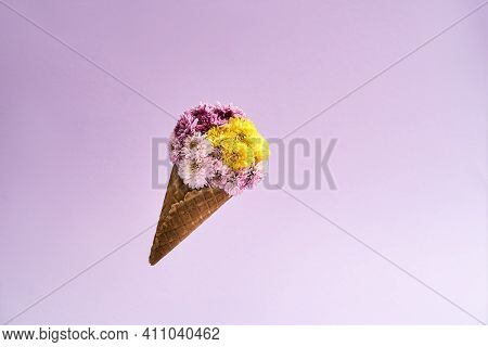 Multicolored Bouquet For March 8 On A Pink Background. Bouquet Of Flowers For The Holiday Of Mothers