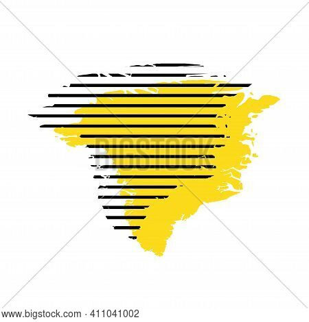 Greenland - Yellow Country Silhouette With Shifted Black Stripes. Memphis Milano Style Design. Slimp