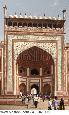 Agra, India - March, 26, 2019: Close Shot Of The Main Entrance Gate To The Taj Mahal At Agra, India.