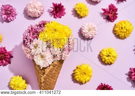 Beautiful Bouquet For The Holiday On March 8 On A Pink Background. Bouquet Of Beautiful Flowers For