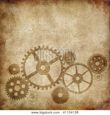Mechanism on Old Paper Background. Vector Illustration. EPS 10.