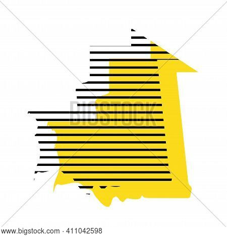 Mauritania - Yellow Country Silhouette With Shifted Black Stripes. Memphis Milano Style Design. Slim