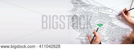 Cartographer Land Map Plot. Cartographer Or Building Developer