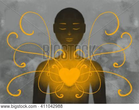 Illustration Of A Human Figure In Love And Harmony. Self-acceptance, Psychological Health, Achieving