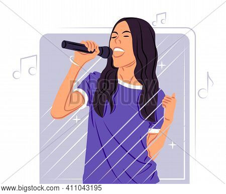 Vector Singer In Shadow Of Sharp Lines Style