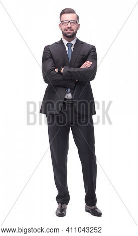 full length . a successful young man in a business suit