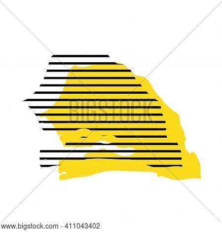 Senegal - Yellow Country Silhouette With Shifted Black Stripes. Memphis Milano Style Design. Slimple