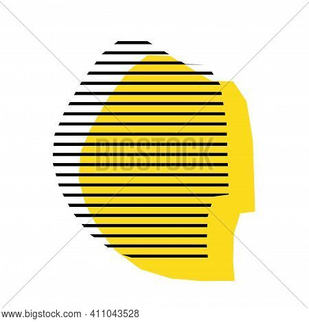 Swaziland - Yellow Country Silhouette With Shifted Black Stripes. Memphis Milano Style Design. Slimp