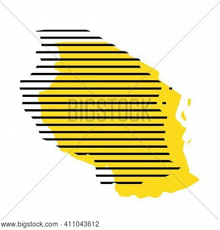 Tanzania - Yellow Country Silhouette With Shifted Black Stripes. Memphis Milano Style Design. Slimpl